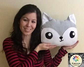 "Kawaii Friend Silver Gray Wolf Pillow Plush 12x9"" - Wolf plushie - Anime toy - Kawaii plushie - Wolf animal plush - Kawaii wolf"
