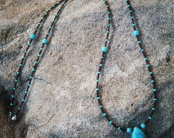 Black and Turquiose beaded necklaces - SALE