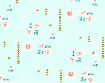 Mint Rosemilk with Metallic Brambleberry Ridge by Violet Craft for Michael Miller Fabrics
