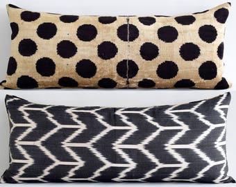 SALE! Black ikat pillow, ikat pillows, velvet, throw pillow, decorative pillows, velvet ikat lumbar, velvet bolster, black white pillow