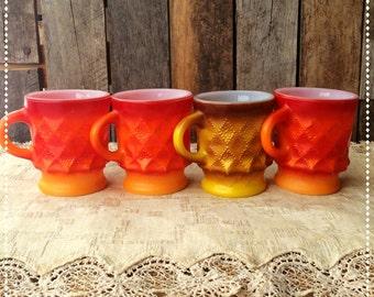 Vintage Set of 4 Fire King Mugs Kimberly Pattern FREE SHIPPING