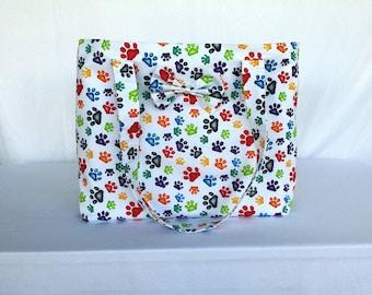 Paw Print Tote, Tote, Shopping Bag, Carryall Bag, Market Bag, Shopper Tote, Designer Tote, Cat, Dog,  Paw Prints