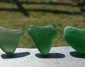 6 Juicy Green Scottish Sea Glass Hearts by SeaFindsScotland Jewellry Sea Glass Supplies Rare Scottish Beach Finds Genuine Sea Glass