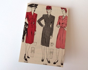 Notebook : Upcycled 1940s Vogue Pattern Book