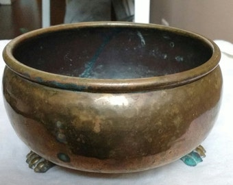 Antique Russian Empire Brass Hand Hammered Claw Foot Round Bowl