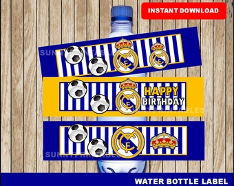 Real Madrid water bottle labels; printable Real Madrid  water, Soccer party water bottle instant download
