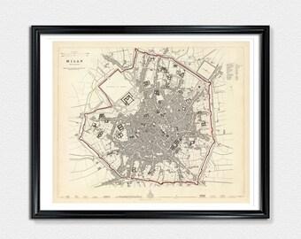 Milan Map, 1835, map print, map poster, Milan poster, vintage city map, vintage poster map, city map poster print, Milan Italy print
