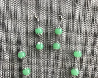 Beautiful natural light green jade necklace with earrings