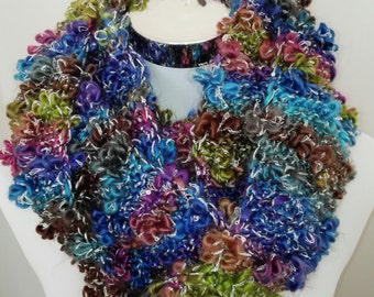 Ladies girls SCARF, knit LOOP, flowers, rosettes, blue multicolor, melange, autumn winter soft, warm, gift, accessories, unique
