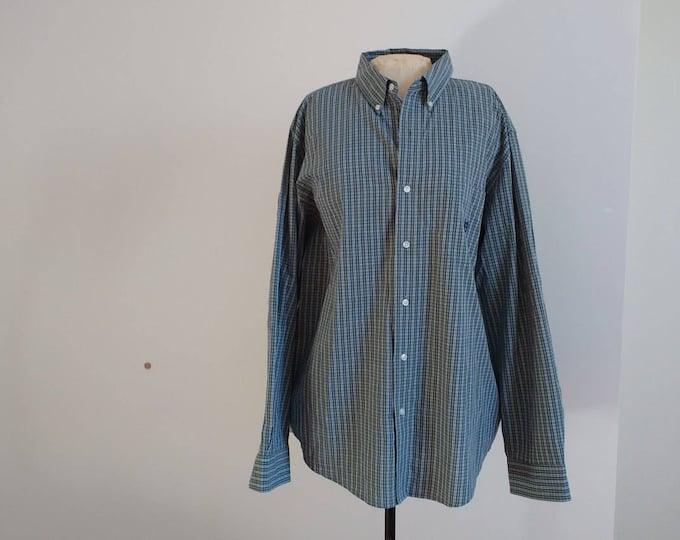 CHAPS Longsleeve button down shirt, casual green plaid Ralph Lauren shirt, mens oxford shirt size XL, suitable for work, summer wardrobe