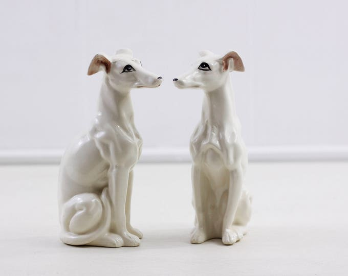 "White porcelain dog figurines, whippet hound statues, set of 2, vintage home decor, greyhound figurine 17.5 cm // 7"" tall"