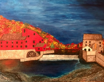 """Clinton, NJ - Red Mill and Hunterdon Art Museum 24""""x36"""" gallery wrapped canvas"""