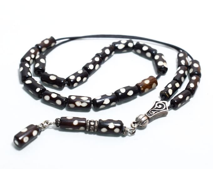 Carved Camel bone Worry Beads, Greek Komboloi, Sterling Silver parts, Black & White barrel shape beads, Relaxation, Meditation, Anti stress