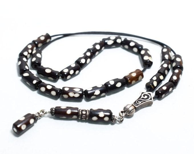 Carved Camel bone Worry Beads, Greek Komboloi, Sterling Silver parts, Black & White barrel shape beads, Relaxation, Meditation, Anti stress