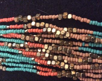 Miami Toned Multi-Strand Beaded Necklace