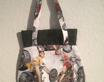 Handmade Shoulder Fabric Bag Pinup Motorcycle White
