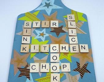 Blue decoupage scrabble letter chopping board wall decoration