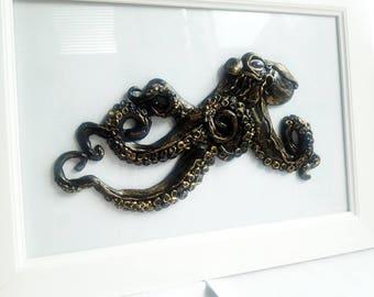 Black (bronze) Octopus. Children's room decor. Baby Animal. Nursery decor. Door decor. Sculpture. 3D Wall Decor. Wall Installation for kids