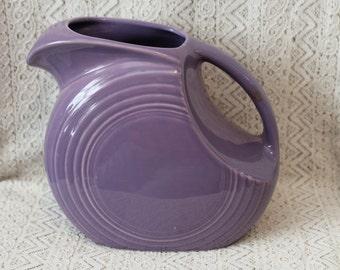 Fiesta Ware Pitcher, Lilac, Rare, Lavender Pitcher, Ceramic Pitcher, Fiesta Disc Pitcher, Fiestaware Pitcher