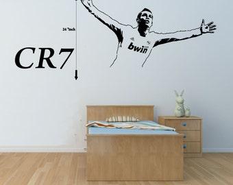 Cristiano Ronaldo Wall Decal CR7 Wall Decal Real Madrid Wall Art Football Soccer Wall Decal Kids Vinyl Wall Decal