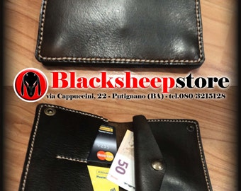 2 mm leather seams by hand made in Italy leather wallet customizable