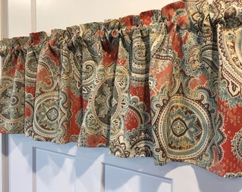 "Paisley Print Rust Brown Blue Gold Gray 54"" Valance Curtain"