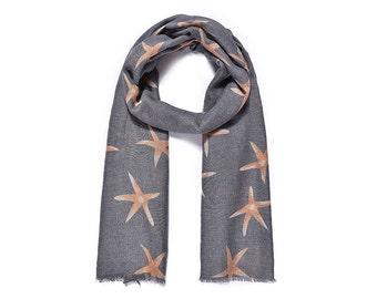 Orange/Grey Starfish Print Long Scarf SC2039j