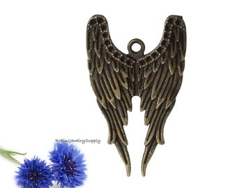 5 pcs - Antique Bronze - Angel Wings - Angel Wing Pendant - Necklace Pendant - Angel Wing Jewelry - Angel Wing Necklace - Angel Wing - P007