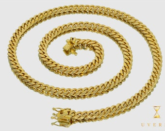 """8mm 14K Semi-Solid Yellow Gold Miami Cuban Link Men's Chain Necklace 16""""-32"""" inches"""