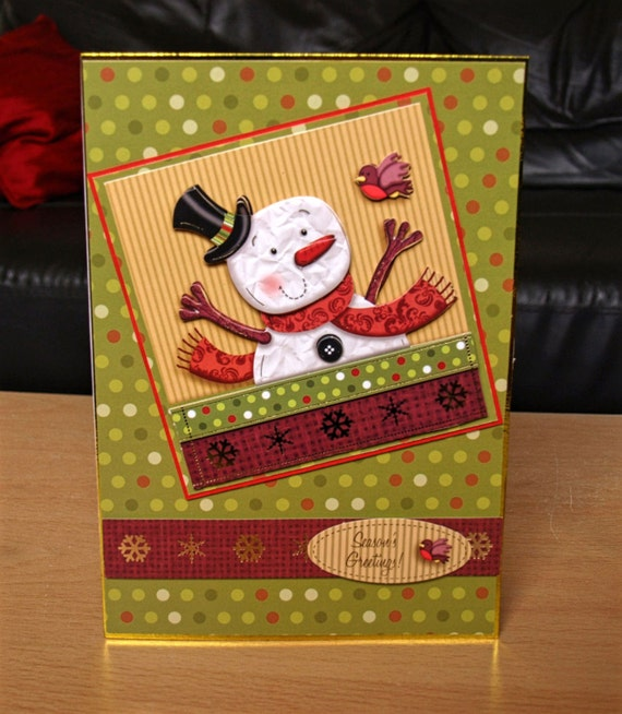 Snowman Christmas Card Handmade - luxury personalised unique quality special UK