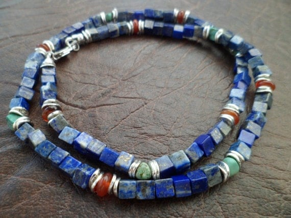 Natural Stones Lapis Lazuli, Turquoise, Carnelian  Necklace for Men, Ethnic Necklace, Mens Unisex  Beaded Necklace,  Gift for Men