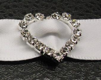 Heart Rhinestone Buckle ~ Rhinestone Slider ~ Invitation Embellishment ~ Wedding Invitation ~ Crystal Buckle