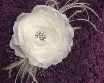 WHISPER - White Fabric Flower Hair Piece