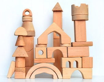 Wooden blocks set Castle, Wooden toy, Montessori inspired building blocks set, Toddler wood toy, Waldorf natural blocks, Boys birthday gift