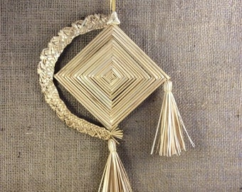 Ojo de Dios - Corn dolly -  House blessing -  Good luck token - Unusual gift - Housewarming - Cultural