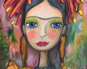 Frida Kahlo 59 - original paintings, mixed media portrait, acrylic painting, mixed media