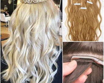Wavy Tape In Extensions 100% Remy Human Hair Extensions