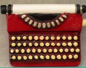 Large Hand-Painted Red Typewriter Brooch