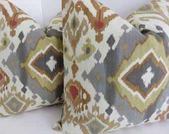 Grey Ivory Charcoal Pillow Covers- Ikat Pillow Covers- Pillow Cover- Decorative Pillow- Grey Pillow- Pillow Covers