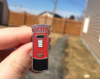 Happy Post Box Pin - Enamel Pin - Red British Post Box - Happy Mail Box Pin