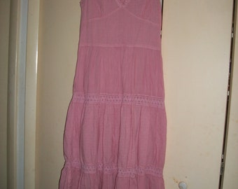 Vintage Coral-Pink Cotton, Lined Sundress Size M