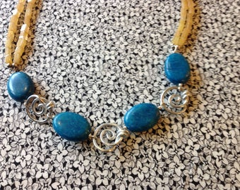 Vintage Eclectic Necklace with Blue Beads, Metal Swirls
