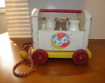 Playskool Wooden Milk Truck Pull Toy