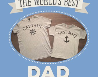Daddy and Me Shirts, Captain and First Mate Shirts, Matching Shirts, Father and Son, Father and Daughter, Ship, Wheel, Anchor, Family Shirts