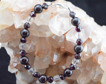 Bracelet beads Garnet and Crystal rock - Silver 925