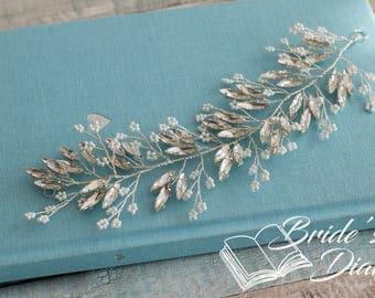 Bridal Wreath, short headband, wedding hair accessories, short bridal hair vine