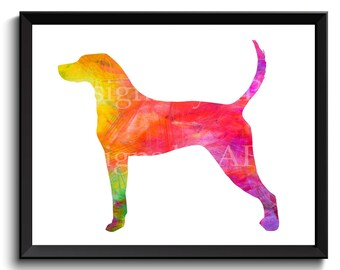 English Coonhound art, American English, Coonhound artwork, redtick coonhound, coonhound art print, printable coonhound - SKU1004