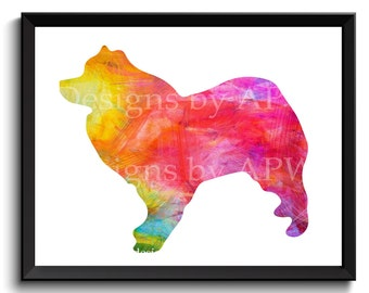 American Eskimo art, eskimo dog art, printable eskimo, Eskimo spitz art, german spitz art, digital eskie art, watercolor dog art - SKU1005