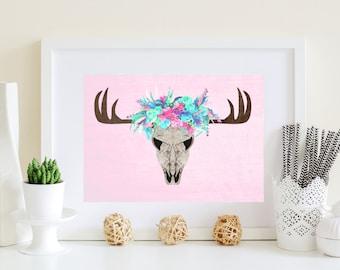 Pink boho deer, pink deer, purple blue deer, Violet aqua decor, Purple home decor, Country home decor, country decor, country printable