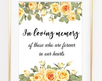 Wedding Memorial Sign, wedding memorial, in loving memory, wedding signs, printable wedding, wedding decor, wedding download, digital file